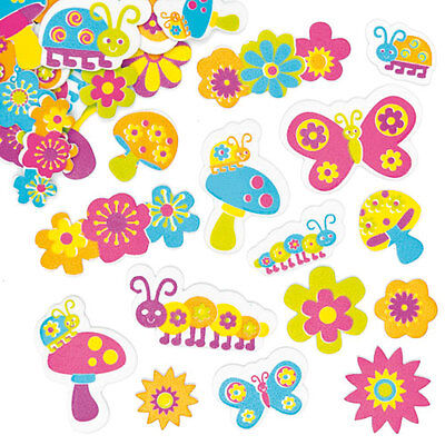 Groovy Garden Foam Stickers for Kid's Crafts & Card Making (Pack of 100)