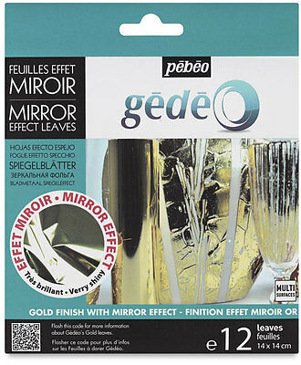 Gedeo Gold Coloured Mirror Effect Metal Leaf 12 Leaves Decoration Gilding Pebeo