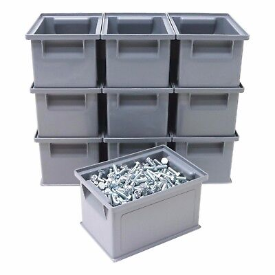 NEW 10 x HD Strong Stacking Plastic Parts Storage Bins Boxes Ideal Nuts & Bolts