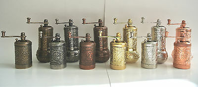 """Turkish Pepper Grinder Hand Mill SET OF 2 :  4.3"""" / 3.2"""" Height 2 pieces"""