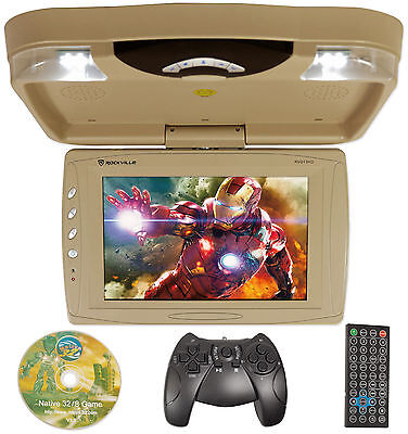 "Rockville RVD13HD-BG BEIGE 13"" Flip Down Car Monitor w DVD/HDMI/USB/SD/Games Tan"