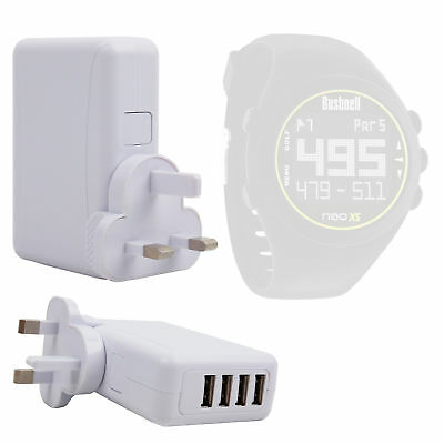Quad-Port USB UK Mains / Home Charger for Bushnell Golf 2014 Neo XS Smartwatch