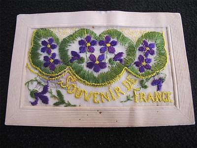 Original Ww1 First World War Embroidered Silk Insert Postcard Souvenir De France