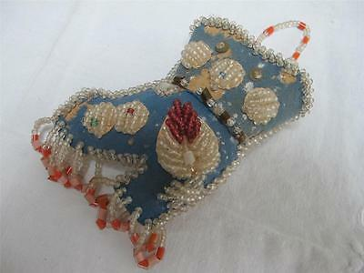 "ANTIQUE NATIVE AMERICAN IROQUOISE BEADWORK ""BOOT"" POCKET WATCH HOLDER c1900"