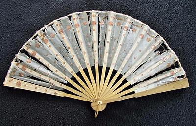 "ANTIQUE EDWARDIAN ""SAVOY HOTEL"" GOLD SEQUIN GAUZE ADVERTISING FAN c1910"
