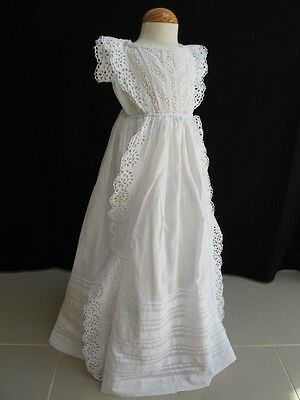 Antique Victorian Broderie Anglaise Whitework Christening Gown Dress 1880