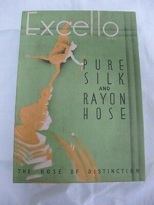 VINTAGE 1930's ADVERTISING EXCELLO PURE SILK & RAYON STOCKING BOX