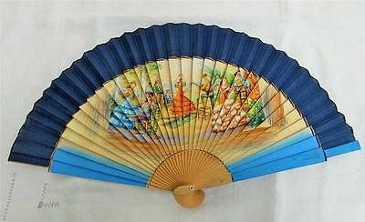 VINTAGE 1950's PRINTED SPANISH SOUVENIR FAN -  FLAMENCO DANCERS