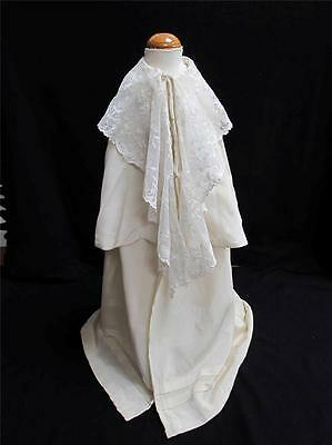 ANTIQUE CREAM SILK & TAMBOURED LACE TIERED BABY'S CHRISTENING CAPE c1900