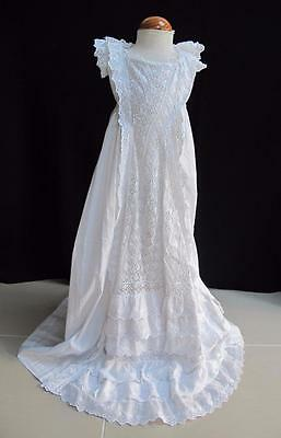 Antique Victorian Embroidered Whitework Princess Line Christening Gown Dress