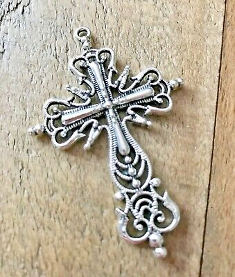 LOVELY LARGE CHRISTIAN SILVER PLATED RELIGIOUS CROSS CRUCIFIX PENDANT (ref003)