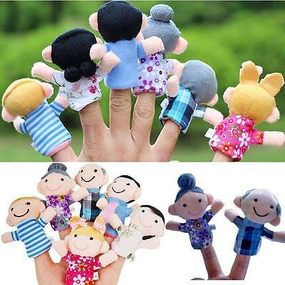 Wholsale 6pcs Family Cute Finger Puppets Educational Kids Hand Toy For Boy Girl
