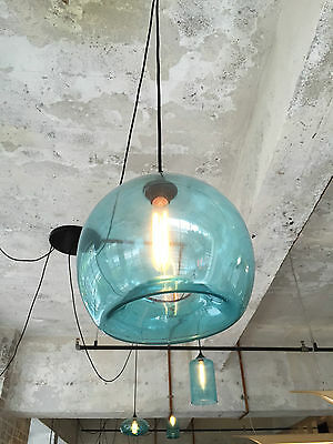 NEW Modern Retro Blue Glass Pendant Lamps Kitchen Bar Cafe Hanging Ceiling Light
