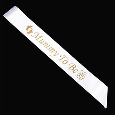 New Mom MUMMY TO BE White Satin Sash Banner Ribbon Baby Shower Party Favor Gift