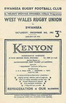 Swansea vWest Wales Rugby Union 6 Dec 1952 RUGBY PROGRAMME