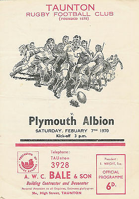 Taunton v Plymouth Albion 7 Feb 1970 RUGBY PROGRAMME
