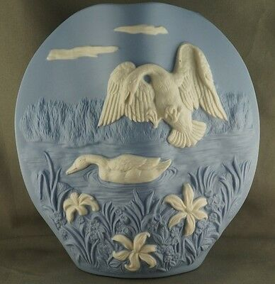 Vintage Blue Mallard Ducks on Vase Anchor mark