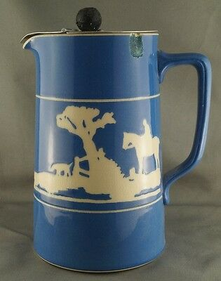 Antique Blue Lidded Pitcher Cowboy with Dog