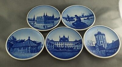 Lot of 5 Royal Copenhagen Denmark Mini Plates Buildings