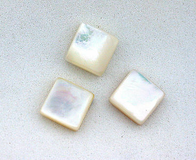TWO 9mm Flat Square Domed Natural Mother Of Pearl Cabochon Cab Gemstone T1A17