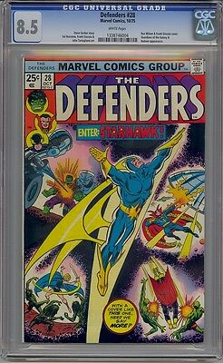 Defenders #28 Cgc 8.5 1St Starhawk White Pages