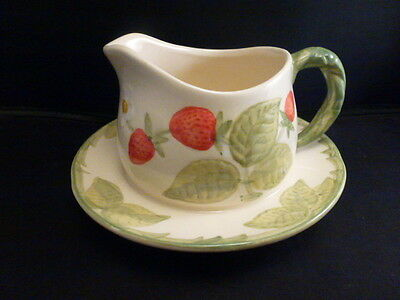 Franciscan Strawberry Fair Gravy Boat with Attached Underplate