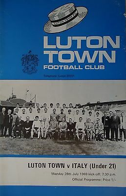 Programm Friendly 28.7.1969 Luton Town - Italy (Under 21)