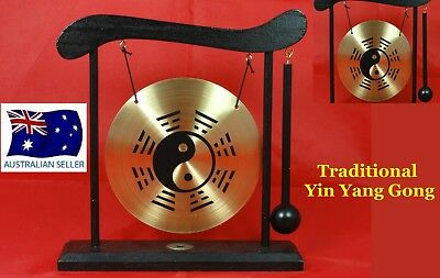 Chinese Dinner & Decorative Yin Yang Brass Gong & Wooden Stand & Hammer W28