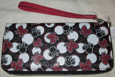 Disney Parks Minnie Mouse Icon Red & Black Bow Zip Wallet Wrist Strap - NEW