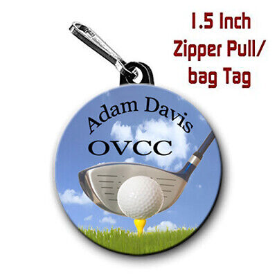 2 Personalized 1.5 Inch Golf Zipper Pull/Bag Tags with Name, City/State or Club
