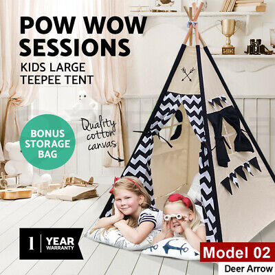 Kids Teepee Tent Children Home Canvas Pretend Play Playhouse Tipi Outdoor Indoor