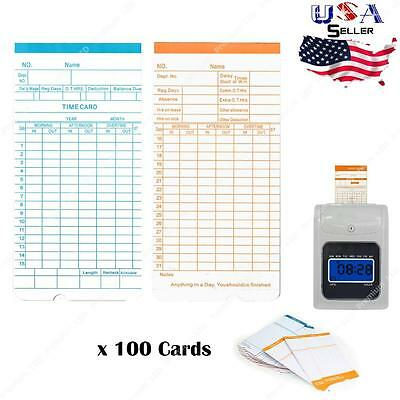 100x Monthly Time Clock Cards For Attendance Payroll Recorder Timecards