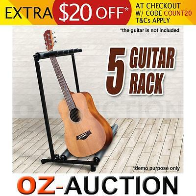 Electric Bass Acoustic Guitar Rack Holder Display Stand Fits 5 Spaces Guitars