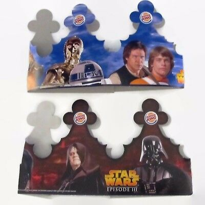 2 STAR WARS RARE 2005 Ep 3 and classic images ep 4 to 6 Burger King CROWNS pair