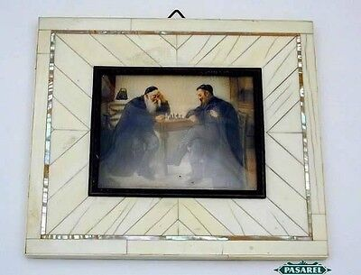 Rare Antique Two Rabbis Playing Chess Signed Miniature Painting Europe Ca 1880