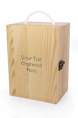 Personalised Wooden Tankard Storage Box with Rope Handle, Engraved Gift