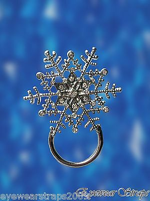NEW Rhinestone Christmas Snowflake Glasses / Spectacle Hanger Brooch Pin Holder