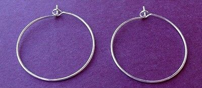 """24 SILVER Plated HOOPS ~ Ear Wires or WINE Glass RINGS for CHARMS 1"""" ~ 25mm"""