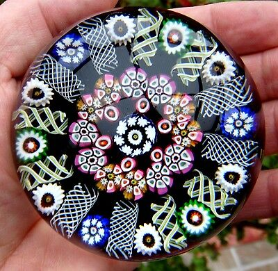 Paul Ysart, Spoke & Millefiori Garland, Unikat, Paperweight, Briefbeschwerer