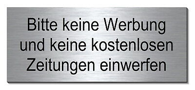 keine werbung zeitungen alu schild 60 x 25 mm briefkasten t rschild warnschild eur 4 95. Black Bedroom Furniture Sets. Home Design Ideas