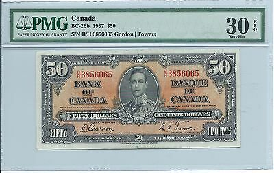 1937 Bank of Canada Fifty Dollar $50 Note; PMG VF30 EPQ BC-26b