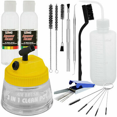 Deluxe Airbrush Cleaning Kit, 3 in 1 Airbrush Clean Pot, Holder Brushes Bottle