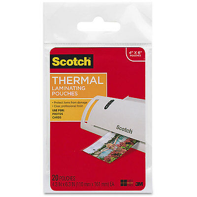 """Scotch Thermal Laminating Heat Pouches 4""""x6"""" 20 Pack 3M"""