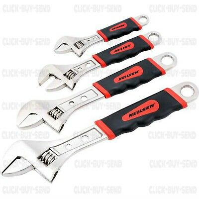 "4 Piece Heavy Duty Adjustable Spanner Wrench Set Spanners 6"" 8"" 10"" 12"" New"