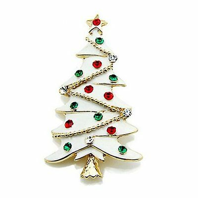 Christmas Tree Collection White Red & Green Rhinestones Shiny Brooch Pin BR315