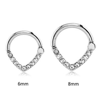 Hinged Septum Clicker 316L Surgical Steel Nose Ring Hoop Ear Cartilage 16G 14G