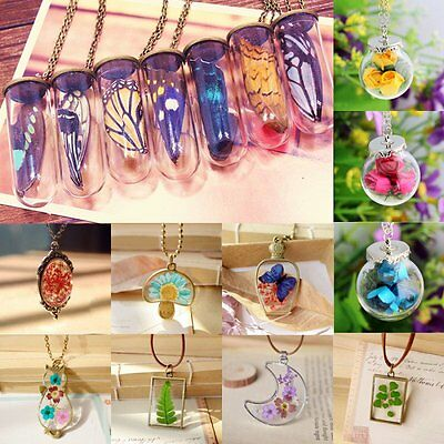 Natural Real Butterfly Flower Lucky Wish Glass Bottle Chain Pendant Necklace Hot