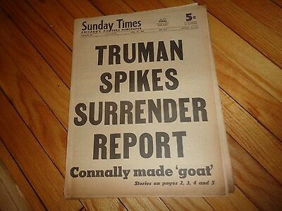Chicago Sunday Times Newspaper WWII April 29 1945 Truman Spikes Surrender Report