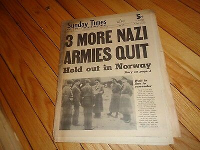 Chicago Sunday Times Newspaper WWII May 6 1945 German Armies Quit