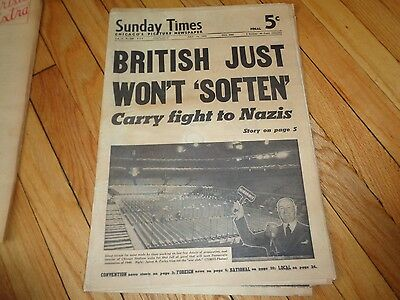 Chicago Sunday Times Newspaper WWII British Just Won't Soften July 14 1940